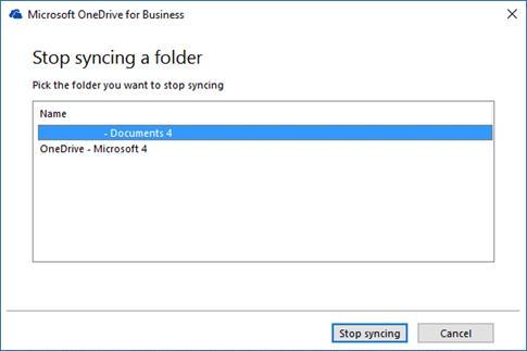 OneDrive for Business-停止同步对话框